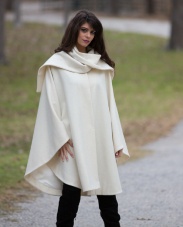 Winter White Wool Cape